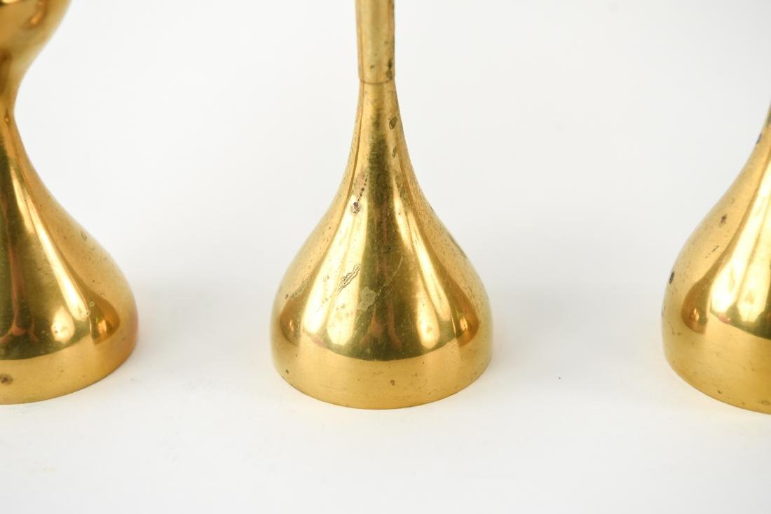 MID-CENTURY GRADUATED HEIGHT BRASS CANDLESTICKS - 6