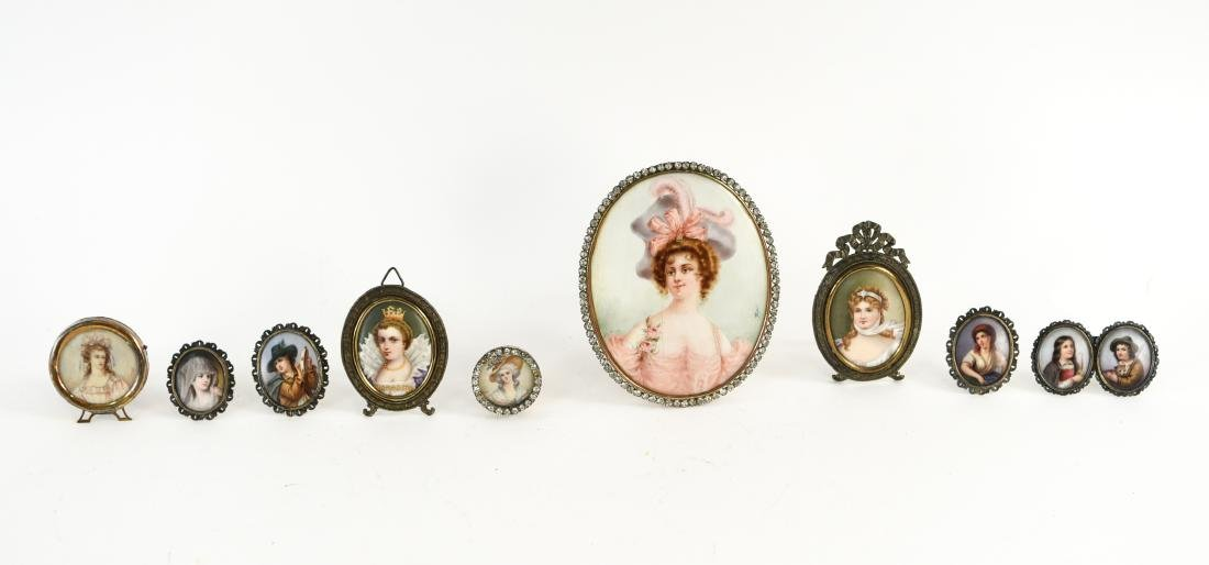 GROUPING OF (10) MINIATURE PORTRAITS