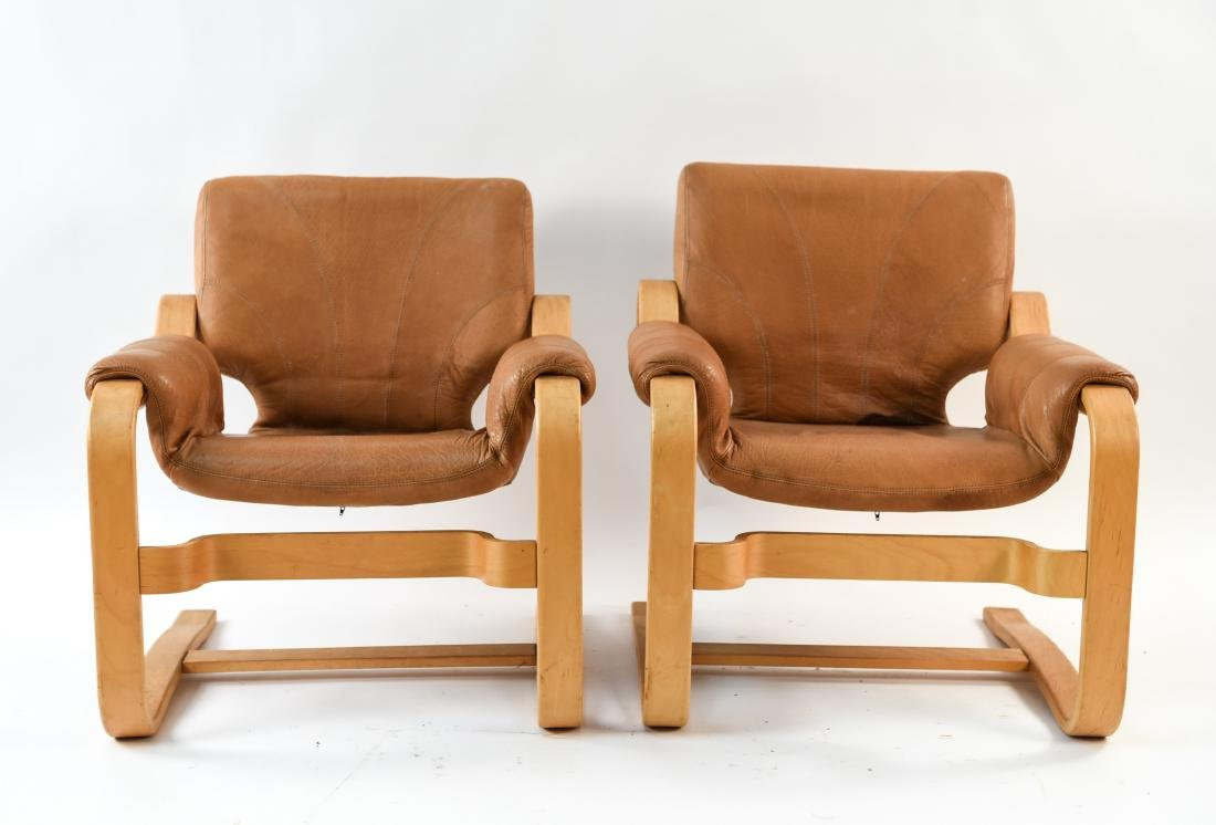 DANISH MID-CENTURY BENTWOOD LOUNGE CHAIRS - 2