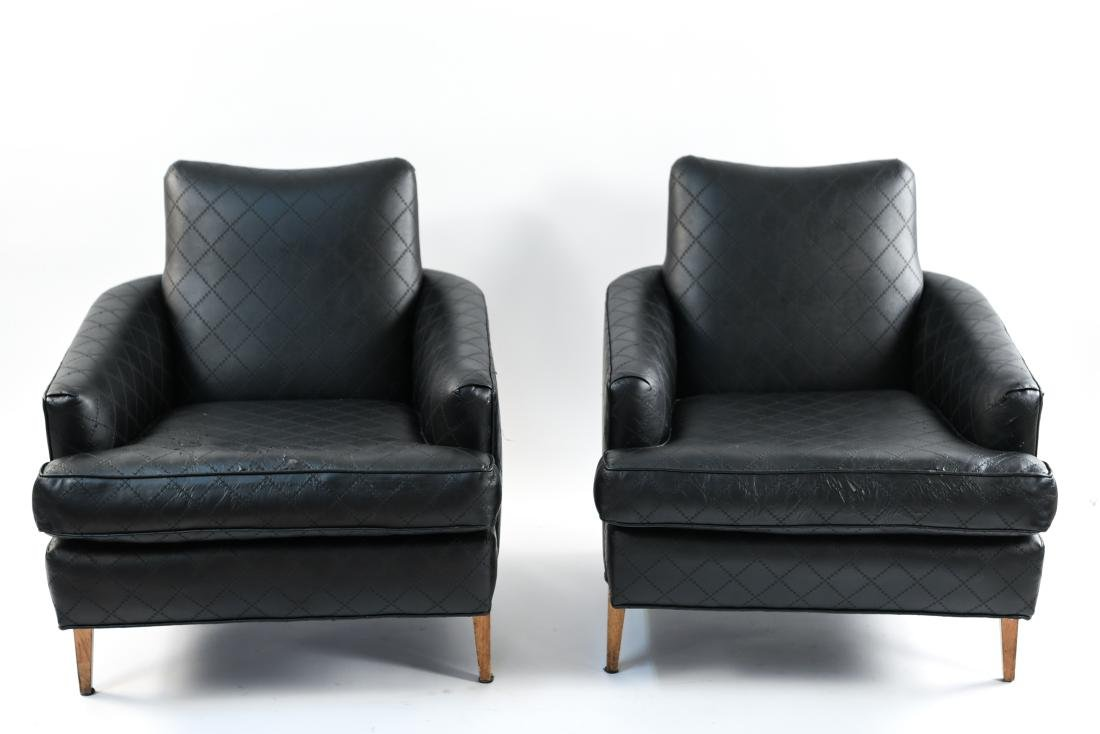 PAIR OF UPHOLSTERED LOUNGE CHAIRS - 2