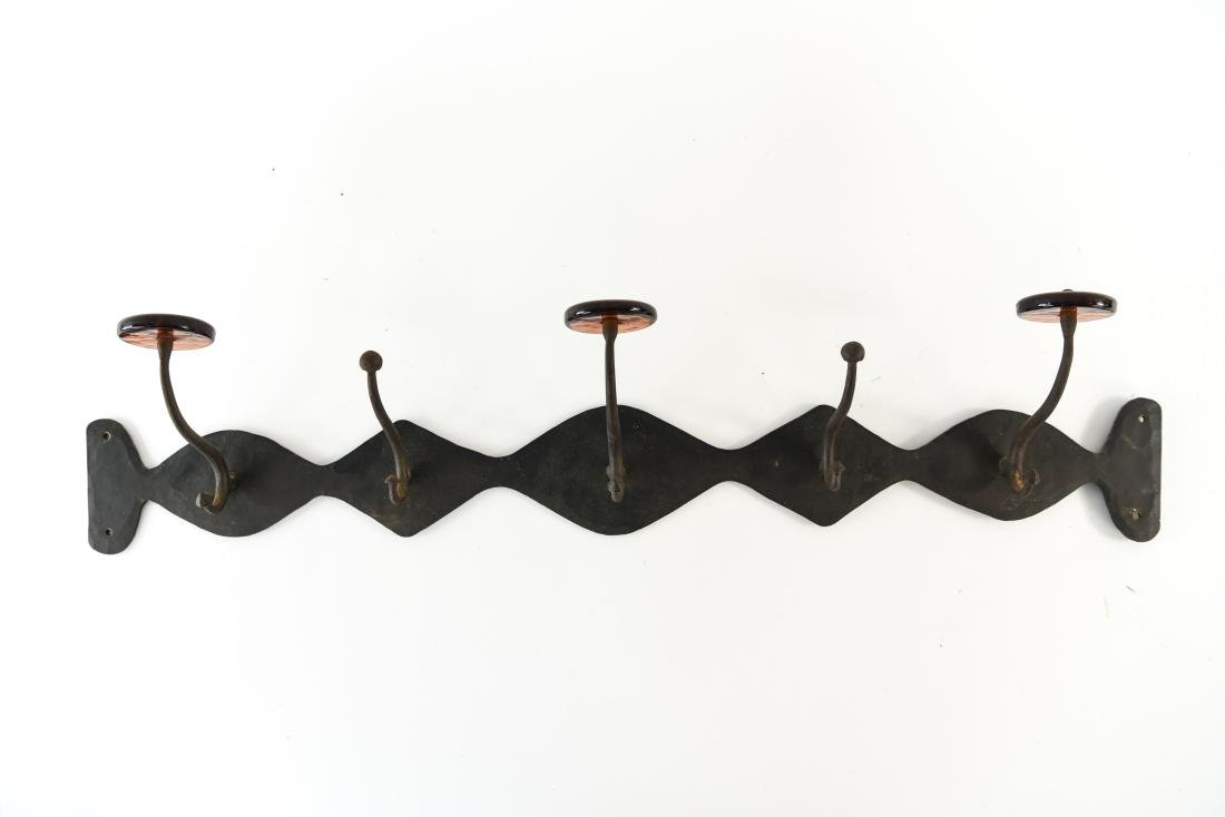 MID-CENTURY SCANDINAVIAN IRON AND GLASS COAT RACK
