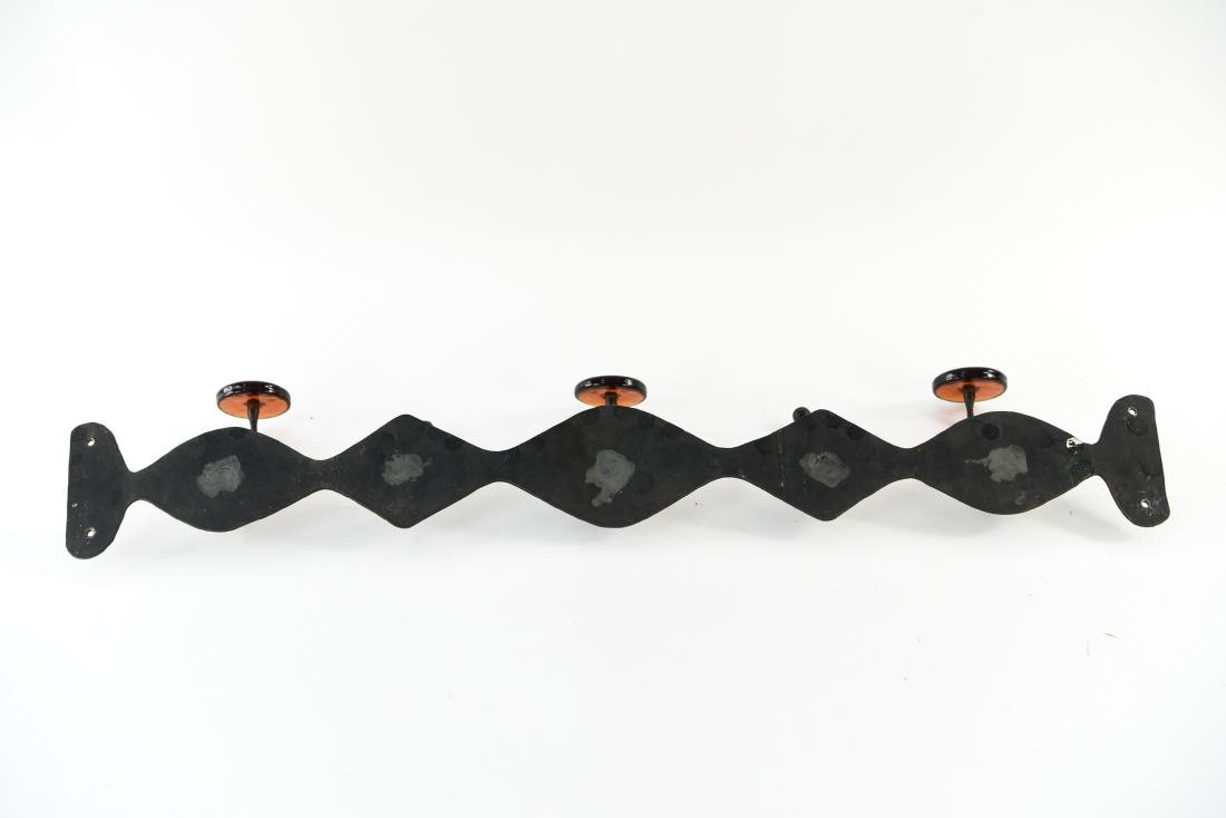 MID-CENTURY SCANDINAVIAN IRON AND GLASS COAT RACK - 9