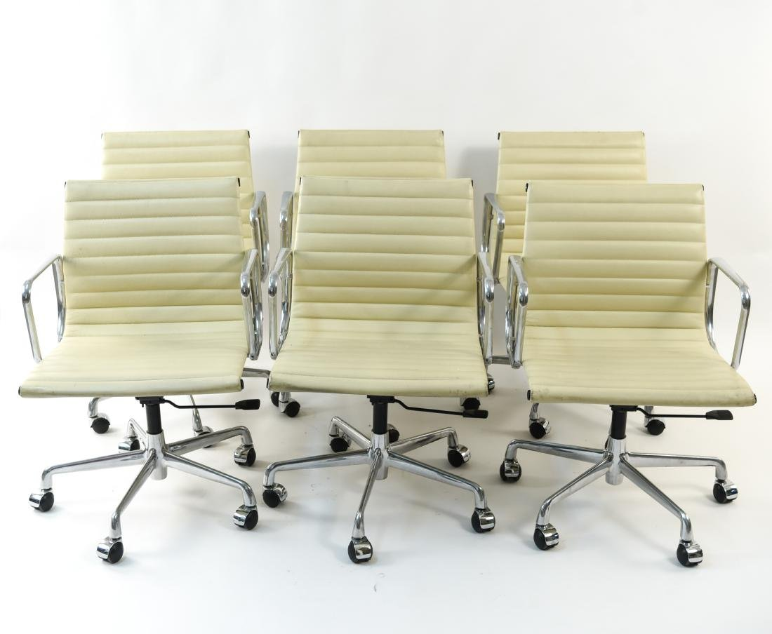 (6) EAMES STYLE LEATHER ARM CHAIRS