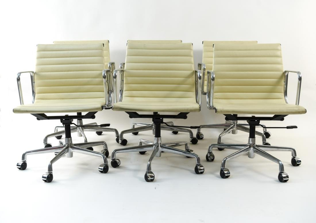 (6) EAMES STYLE LEATHER ARM CHAIRS - 2