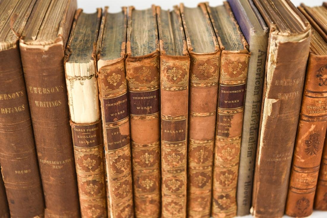 GROUPING OF LEATHER BOUND BOOKS - 5
