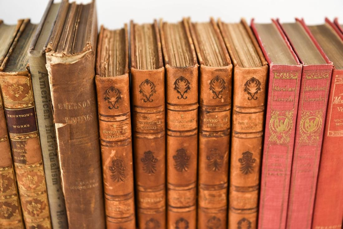 GROUPING OF LEATHER BOUND BOOKS - 6