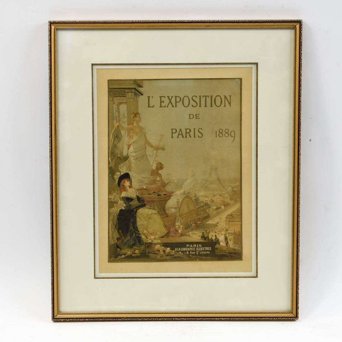 VINTAGE 1889 PARIS EXPOSITION POSTER