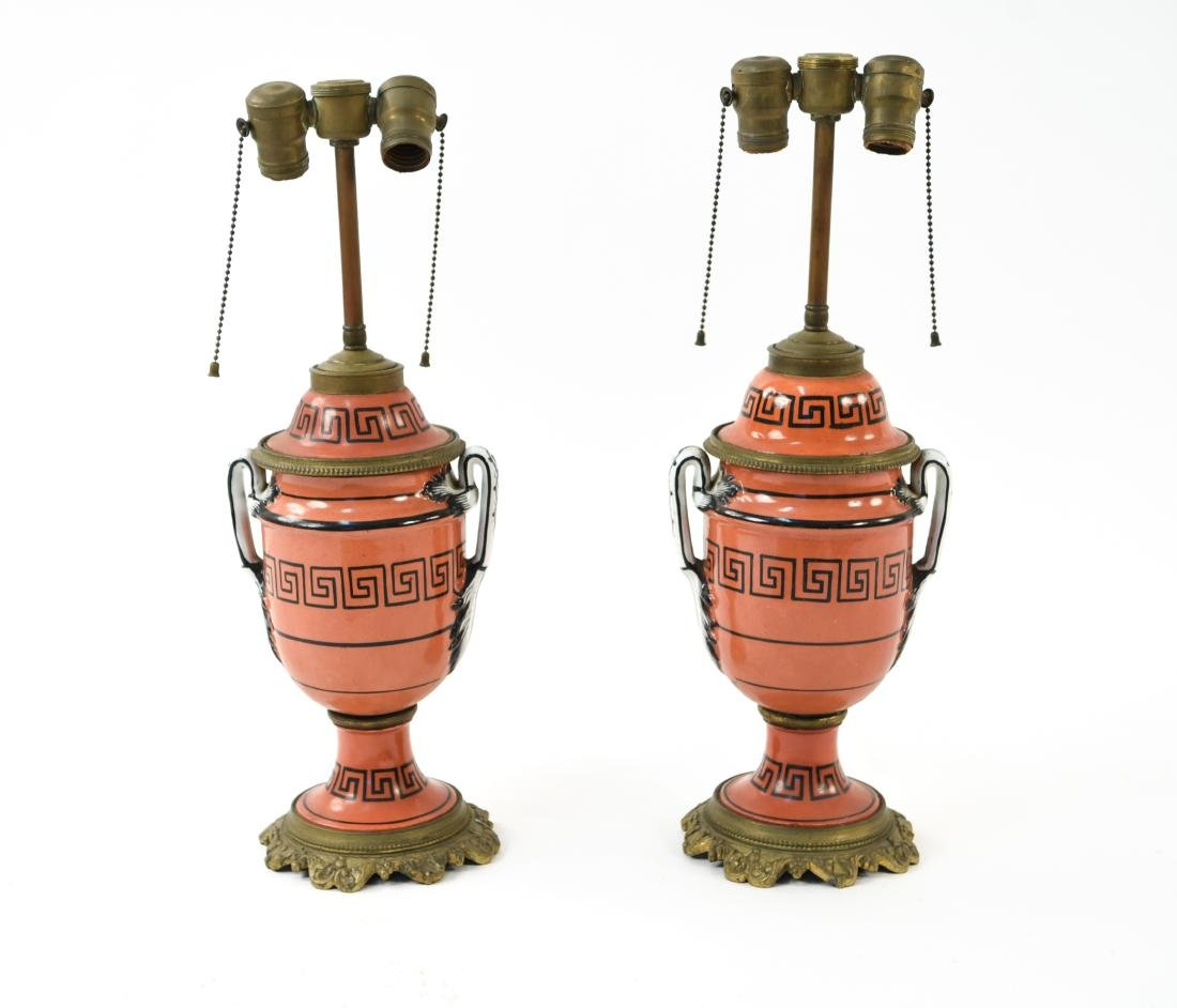 PAIR OF IRONSTONE LAMPS