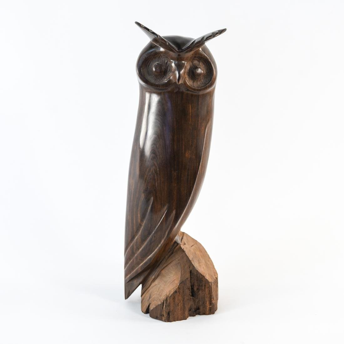 CARVED ROSEWOOD OWL SCULPTURE