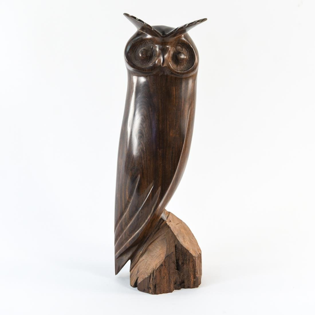 CARVED ROSEWOOD OWL SCULPTURE - 2