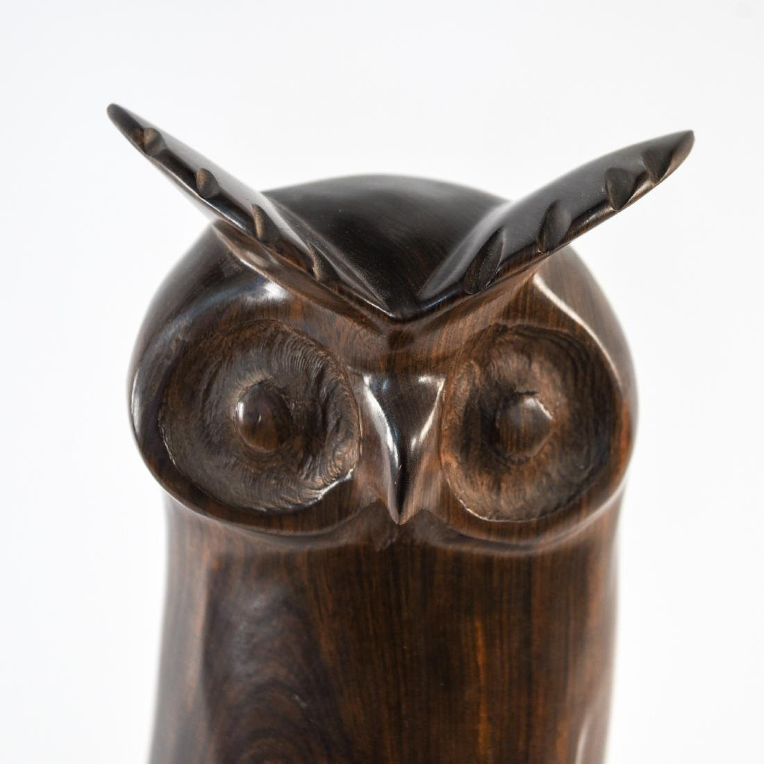 CARVED ROSEWOOD OWL SCULPTURE - 3
