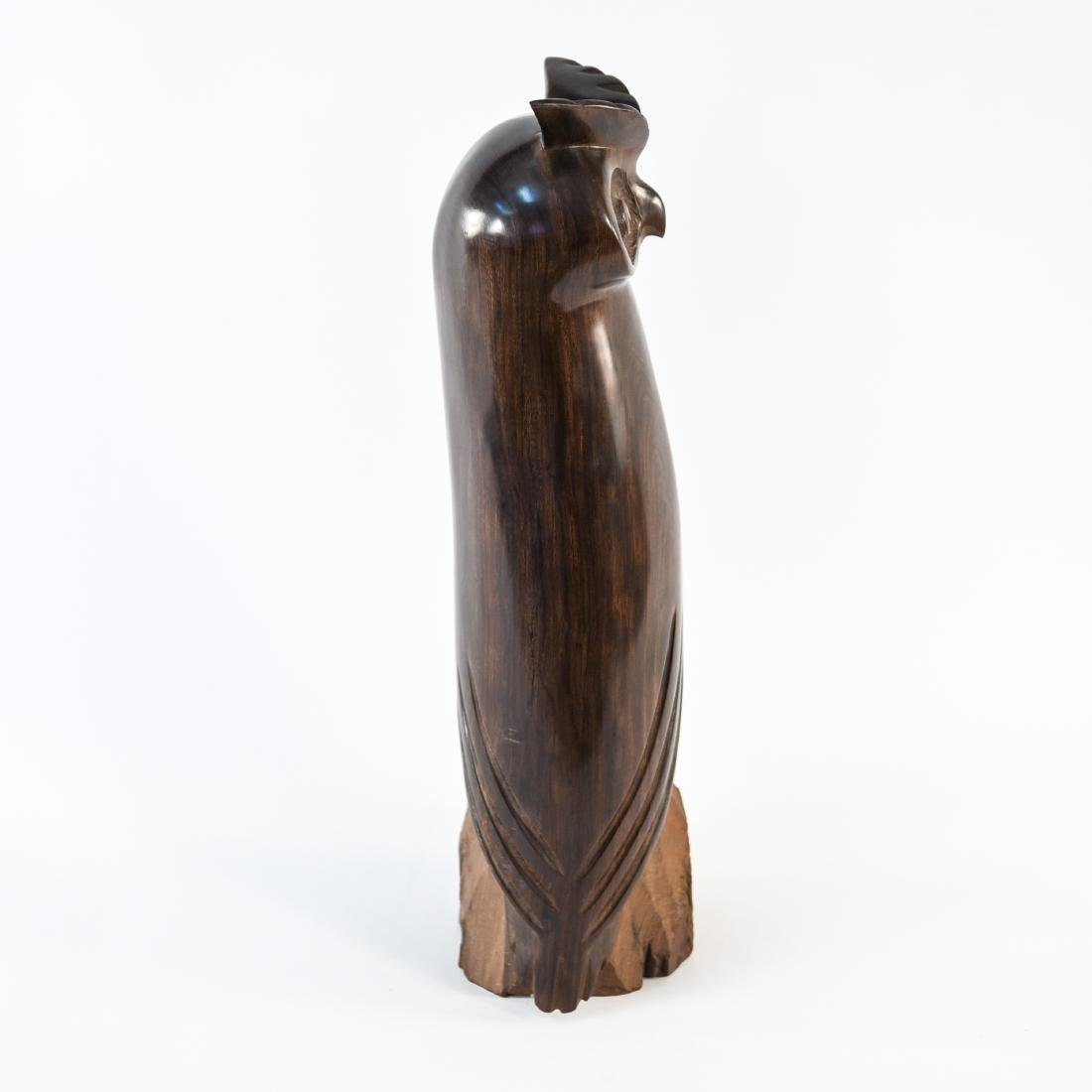 CARVED ROSEWOOD OWL SCULPTURE - 7