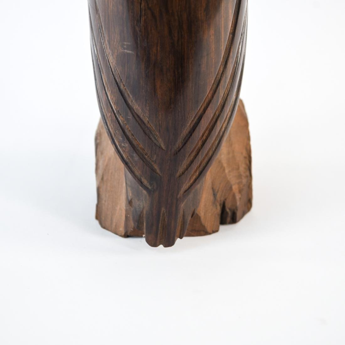 CARVED ROSEWOOD OWL SCULPTURE - 8