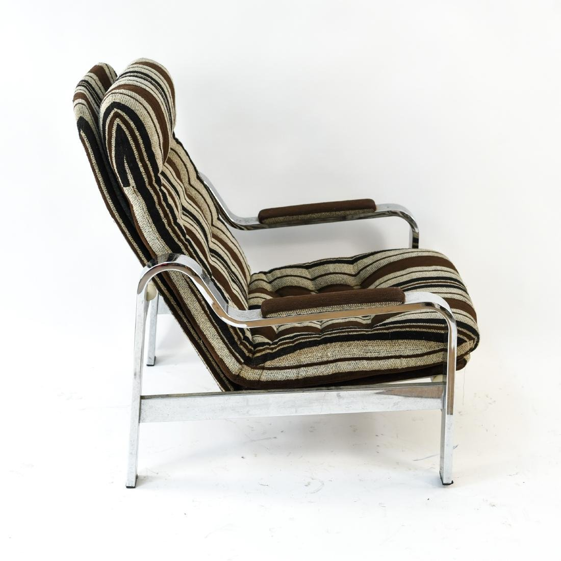 MID-CENTURY CHROME LOUNGE CHAIR & OTTOMAN