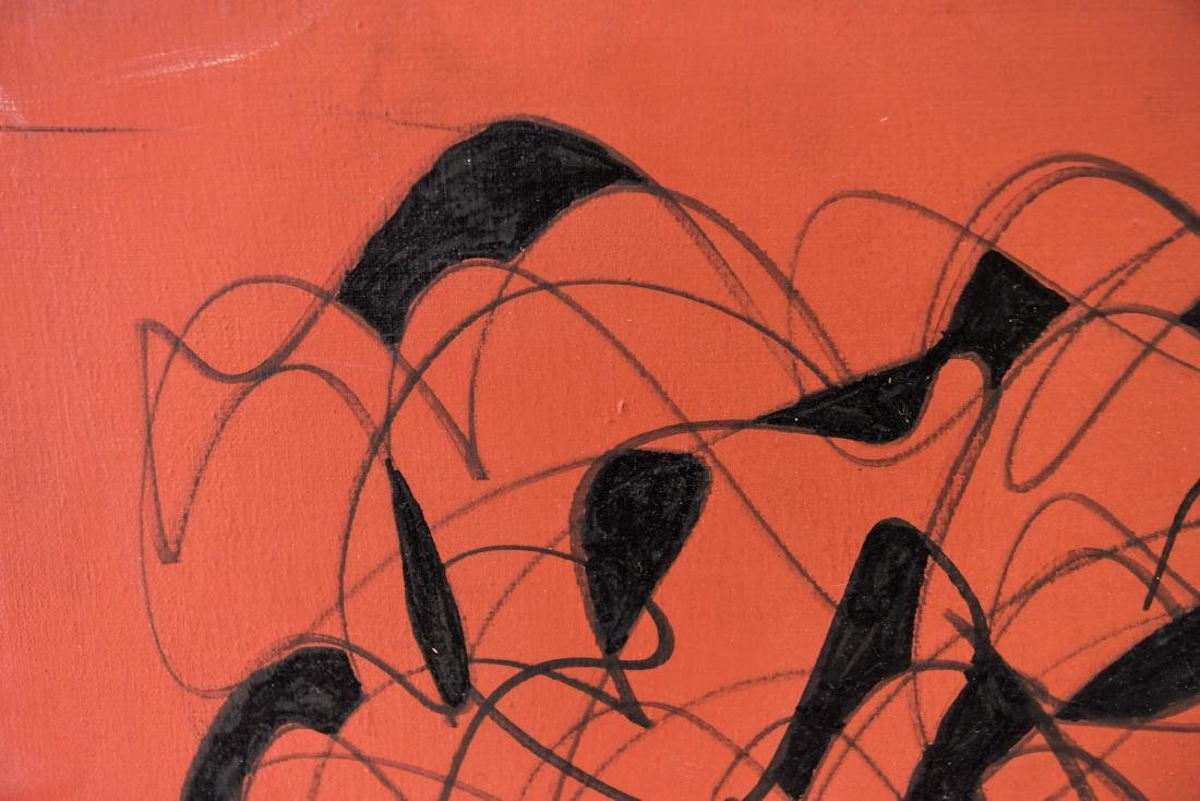 BLACK & RED ABSTRACT OIL ON CANVAS - 3