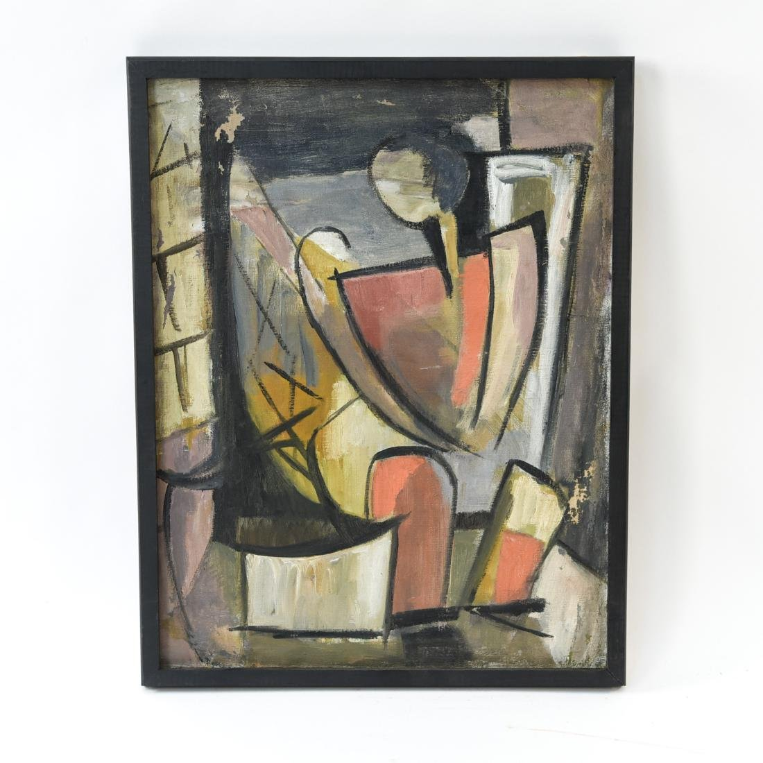 MID-CENTURY CUBIST FIGURE 1950S OIL ON CANVAS