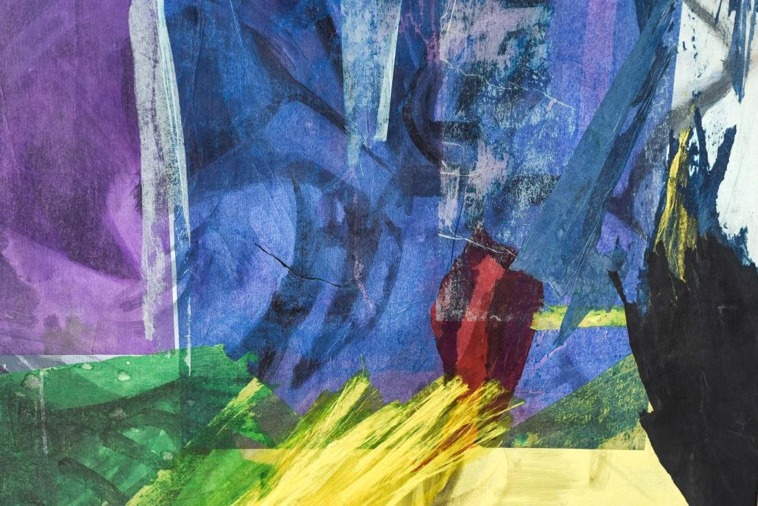 MIXED MEDIA ABSTRACT COLLAGE ON CANVAS - 4