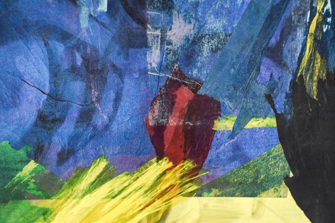 MIXED MEDIA ABSTRACT COLLAGE ON CANVAS - 8
