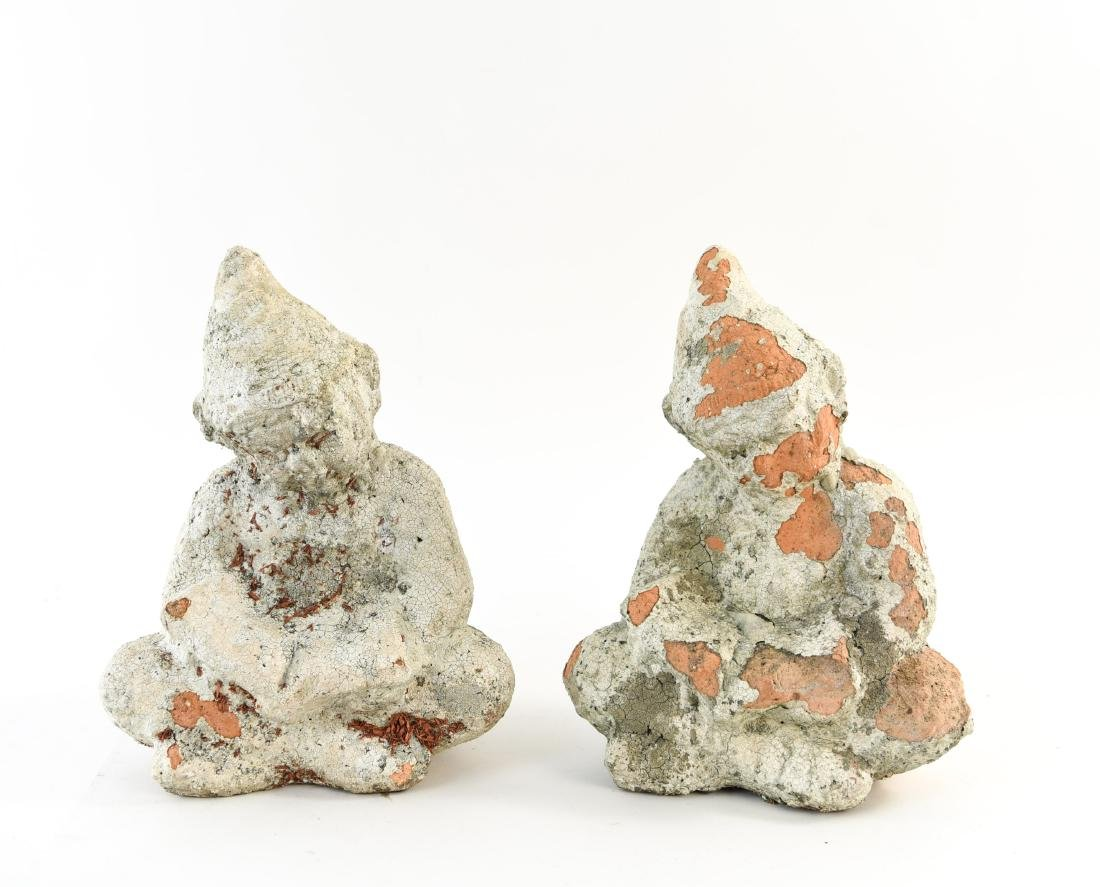 PAIR OF PAINTED TERRACOTTA GNOME GARDEN SCULPTURES