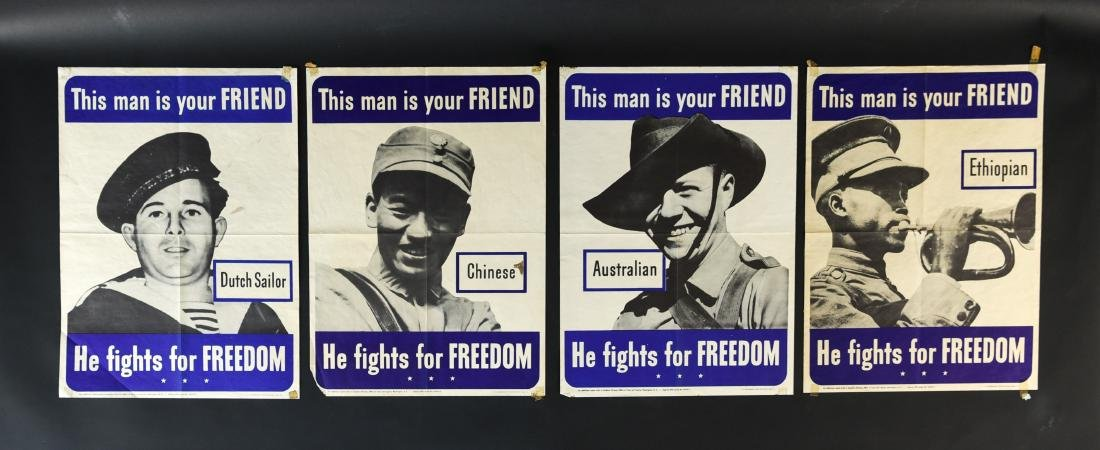(4) WWII ALLIED FIGHTERS POSTERS