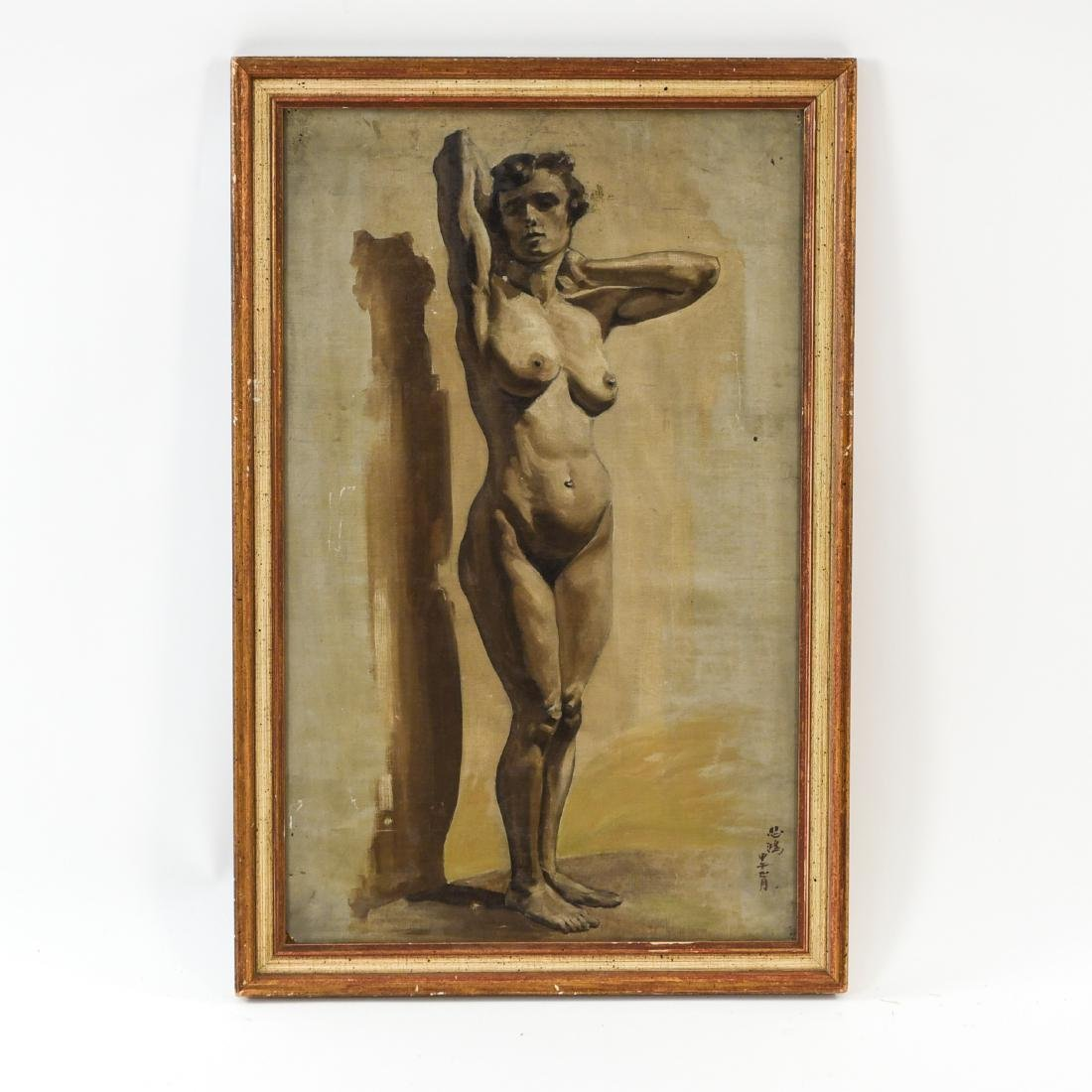 CHINESE ARTIST NUDE OIL ON BOARD PAINTING