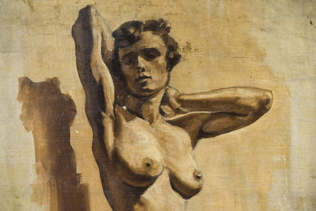 CHINESE ARTIST NUDE OIL ON BOARD PAINTING - 3