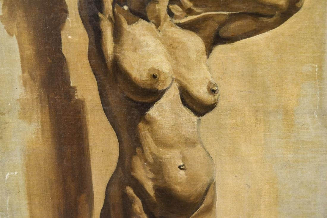 CHINESE ARTIST NUDE OIL ON BOARD PAINTING - 4