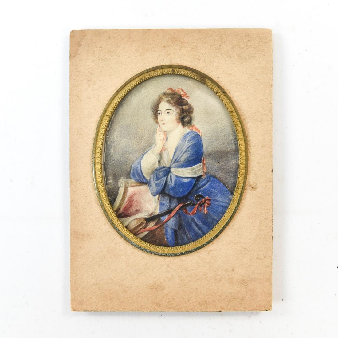 MINIATURE PORTRAIT OF WOMAN WITH MANDOLIN