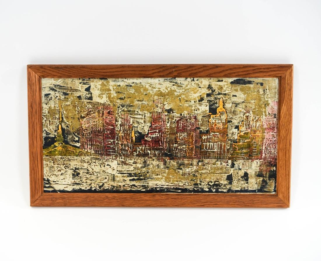 ABSTRACT CITYSCAPE OIL PAINTING