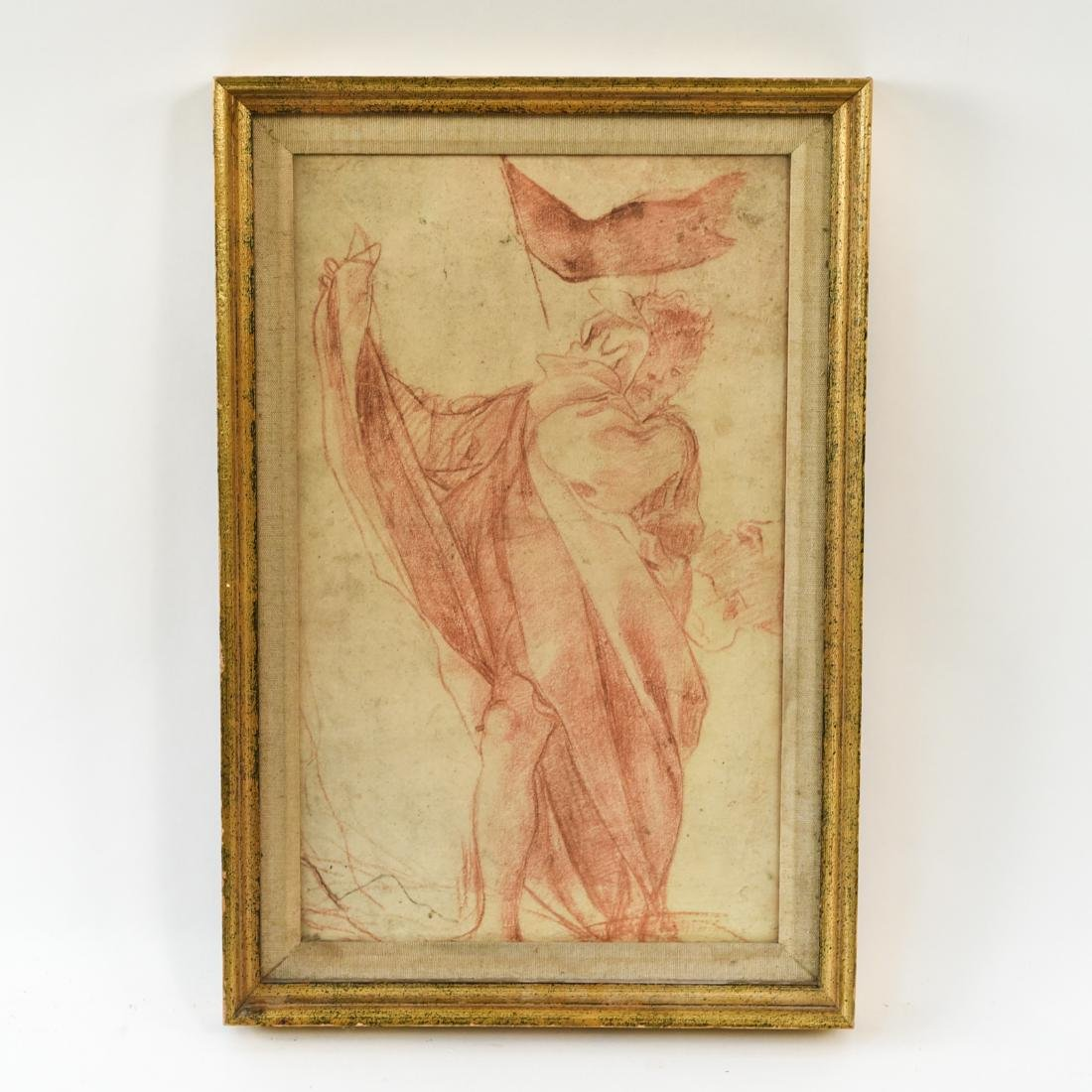 OLD MASTER SEPIA DRAWING PRINT OF ROBED MALE