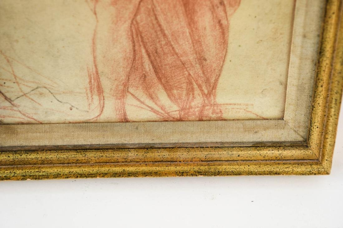 OLD MASTER SEPIA DRAWING PRINT OF ROBED MALE - 2