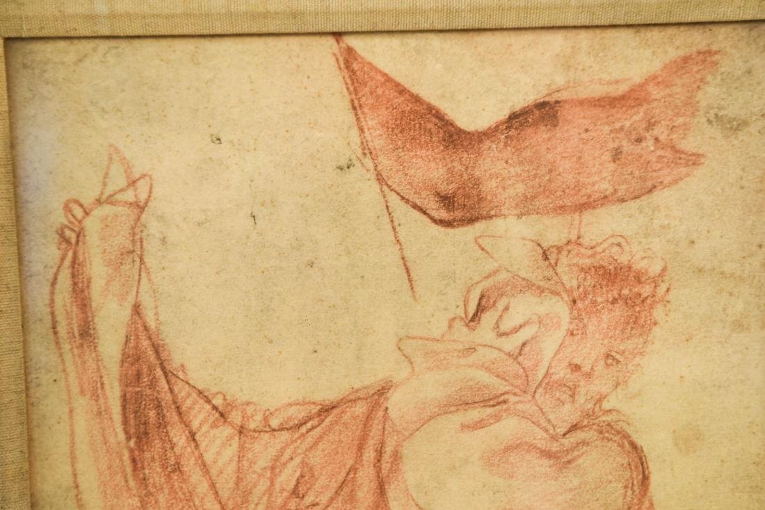 OLD MASTER SEPIA DRAWING PRINT OF ROBED MALE - 3