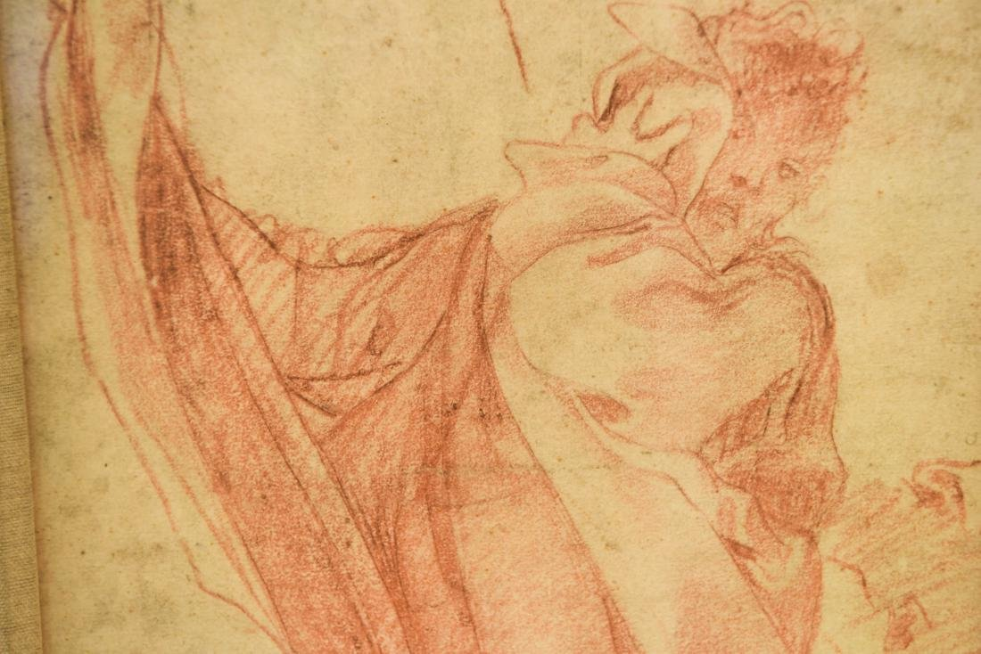 OLD MASTER SEPIA DRAWING PRINT OF ROBED MALE - 4