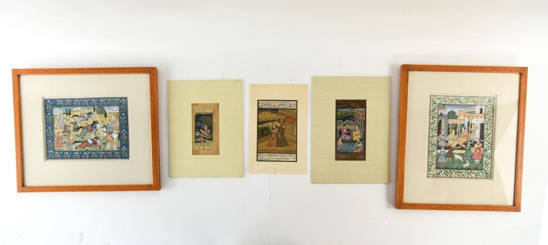 INDIAN ILLUMINATED PAGES GROUPING OF (5)
