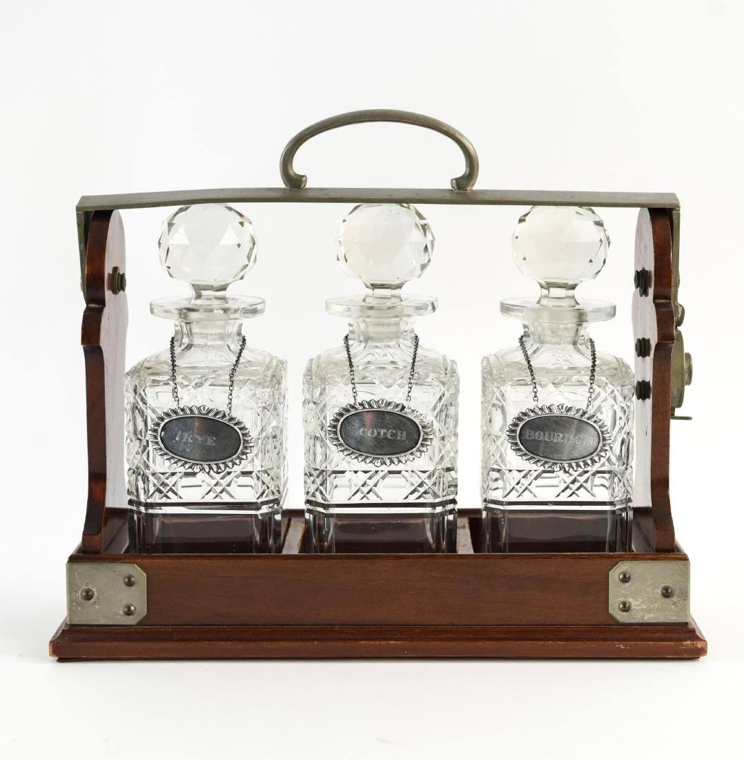 TANTALUS DECANTER SET WITH STERLING LABELS