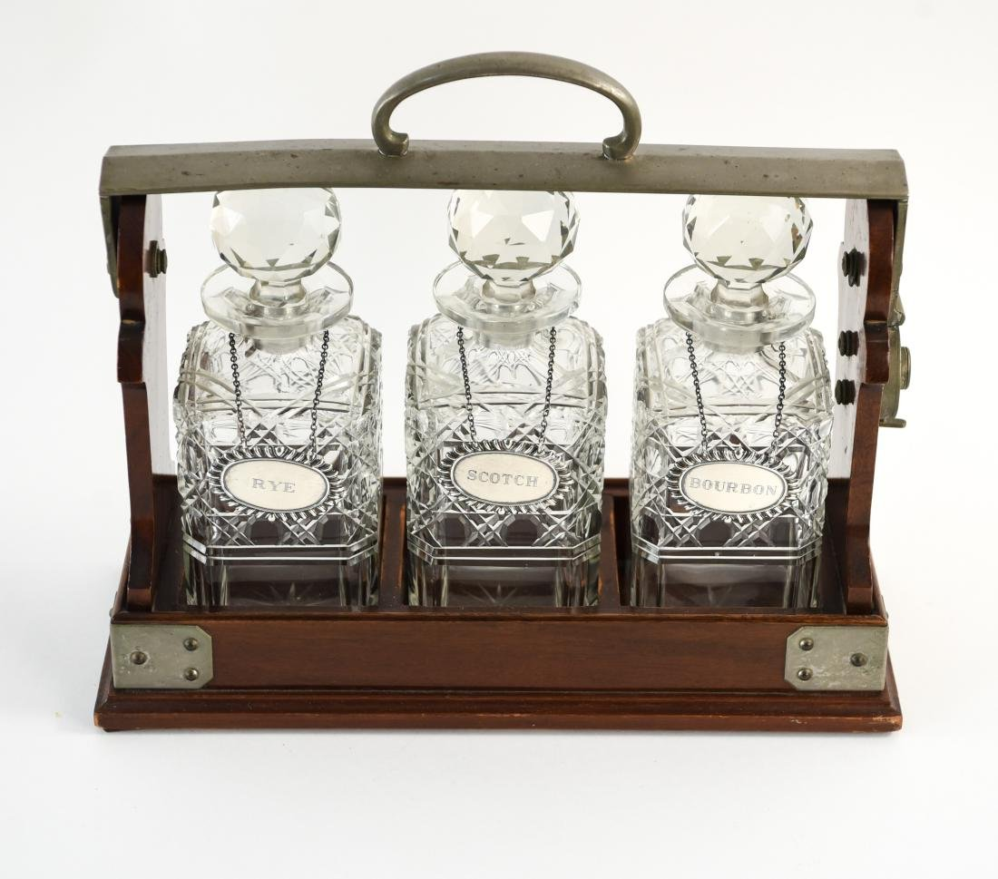 TANTALUS DECANTER SET WITH STERLING LABELS - 2