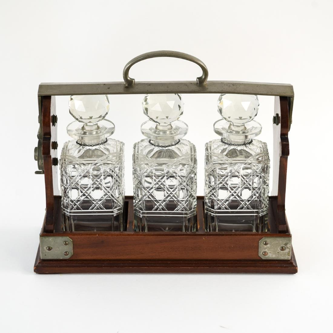 TANTALUS DECANTER SET WITH STERLING LABELS - 5