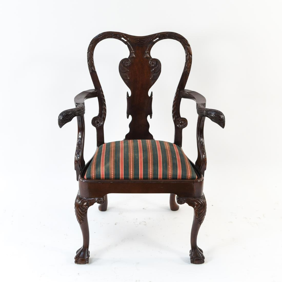 QUEEN ANNE STYLE CARVED ARMCHAIR