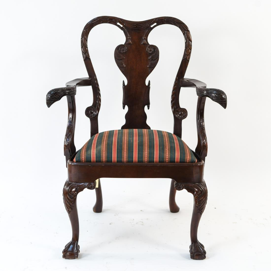 QUEEN ANNE STYLE CARVED ARMCHAIR - 2
