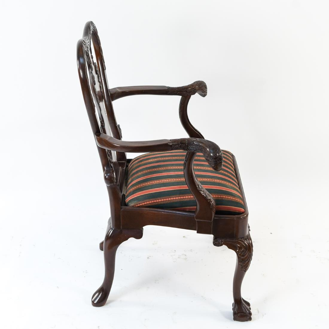 QUEEN ANNE STYLE CARVED ARMCHAIR - 9