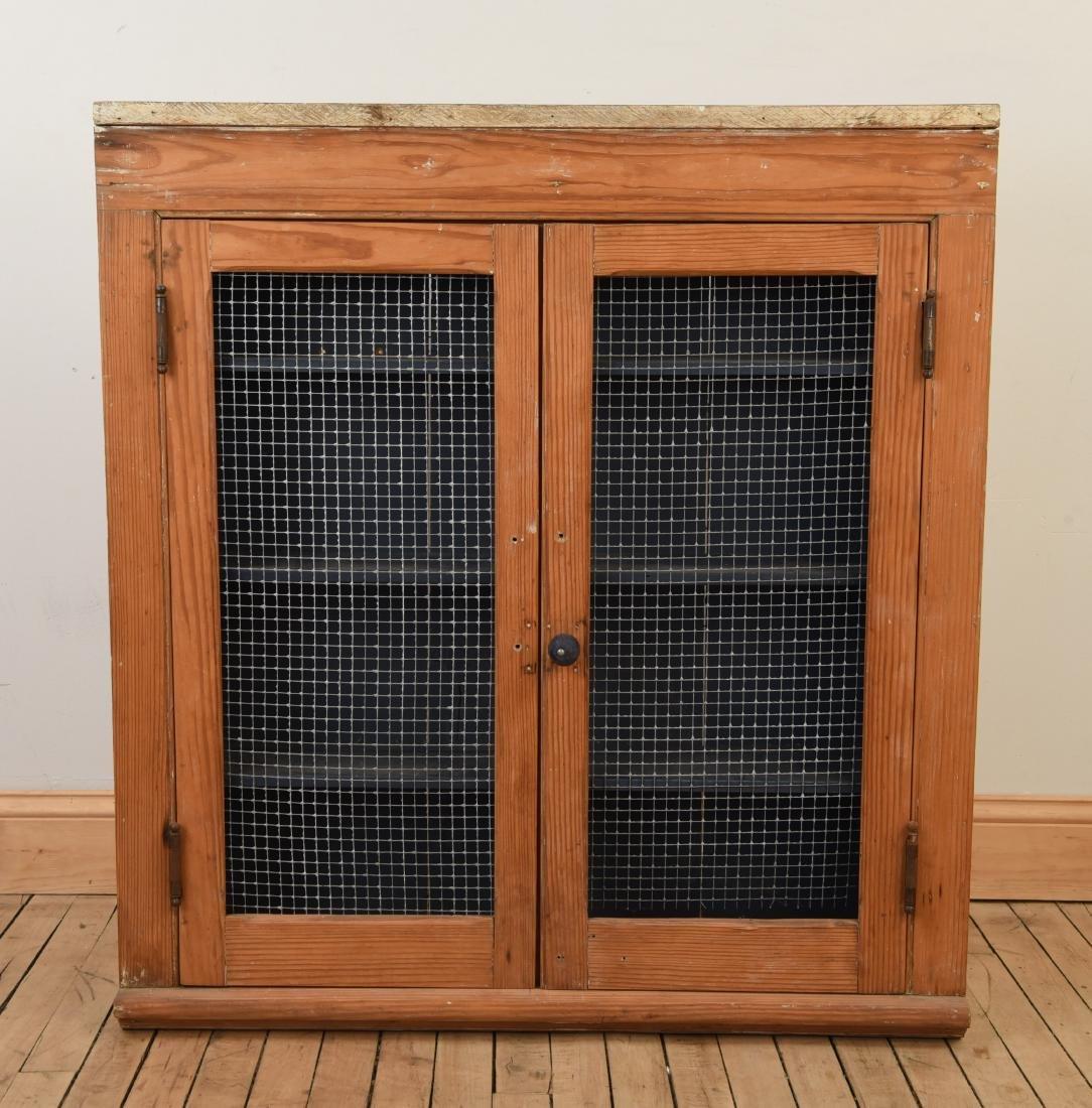 ANTIQUE CUPBOARD CABINET W/ MESH FRONT DOORS