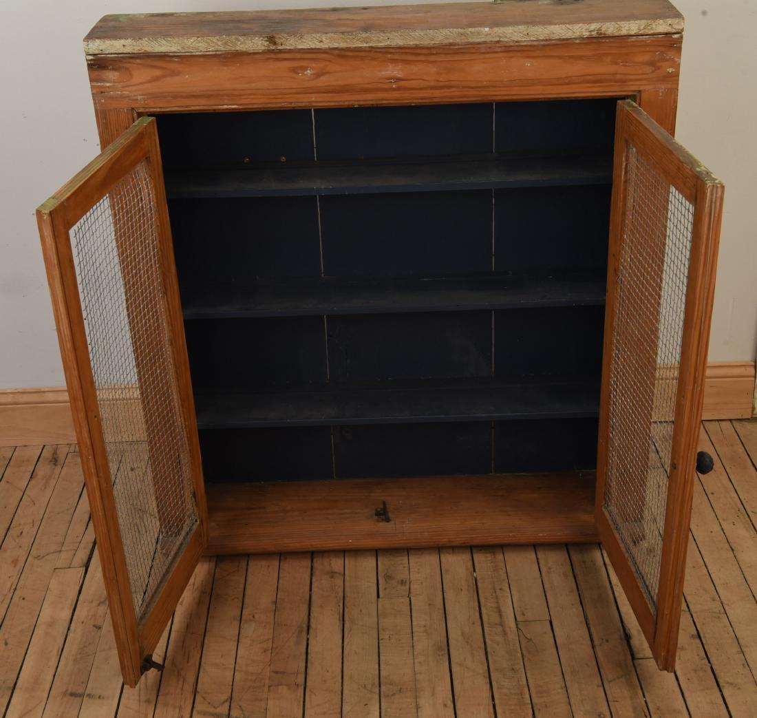 ANTIQUE CUPBOARD CABINET W/ MESH FRONT DOORS - 3