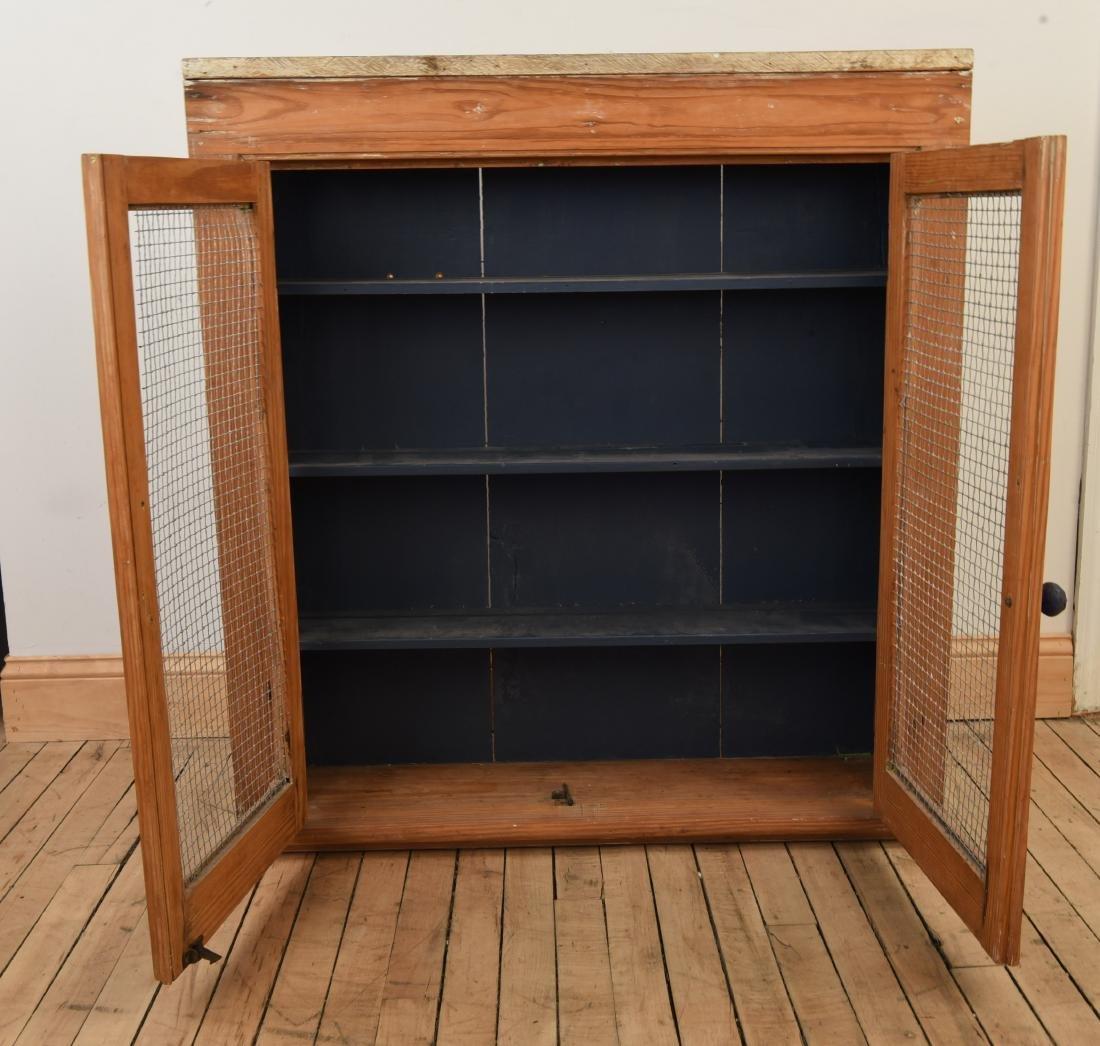 ANTIQUE CUPBOARD CABINET W/ MESH FRONT DOORS - 4
