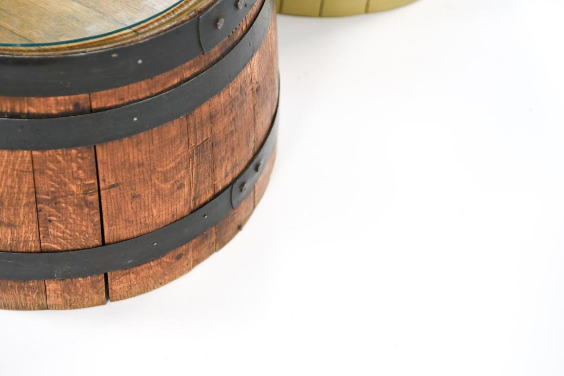 (2) WOODEN BARREL HALVES / END TABLES - 10