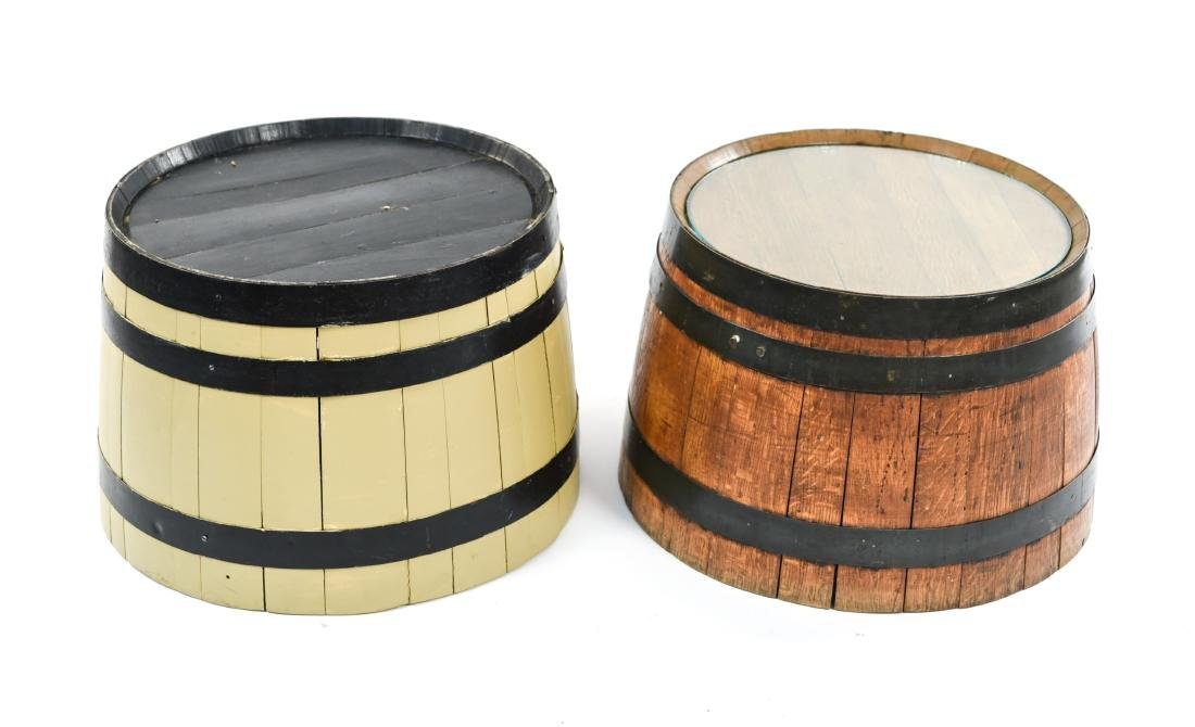 (2) WOODEN BARREL HALVES / END TABLES