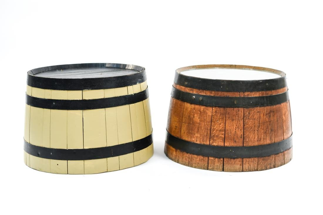 (2) WOODEN BARREL HALVES / END TABLES - 2