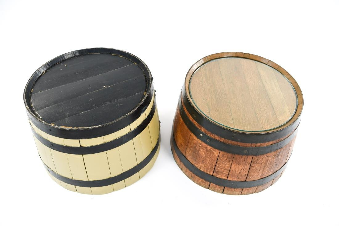 (2) WOODEN BARREL HALVES / END TABLES - 3