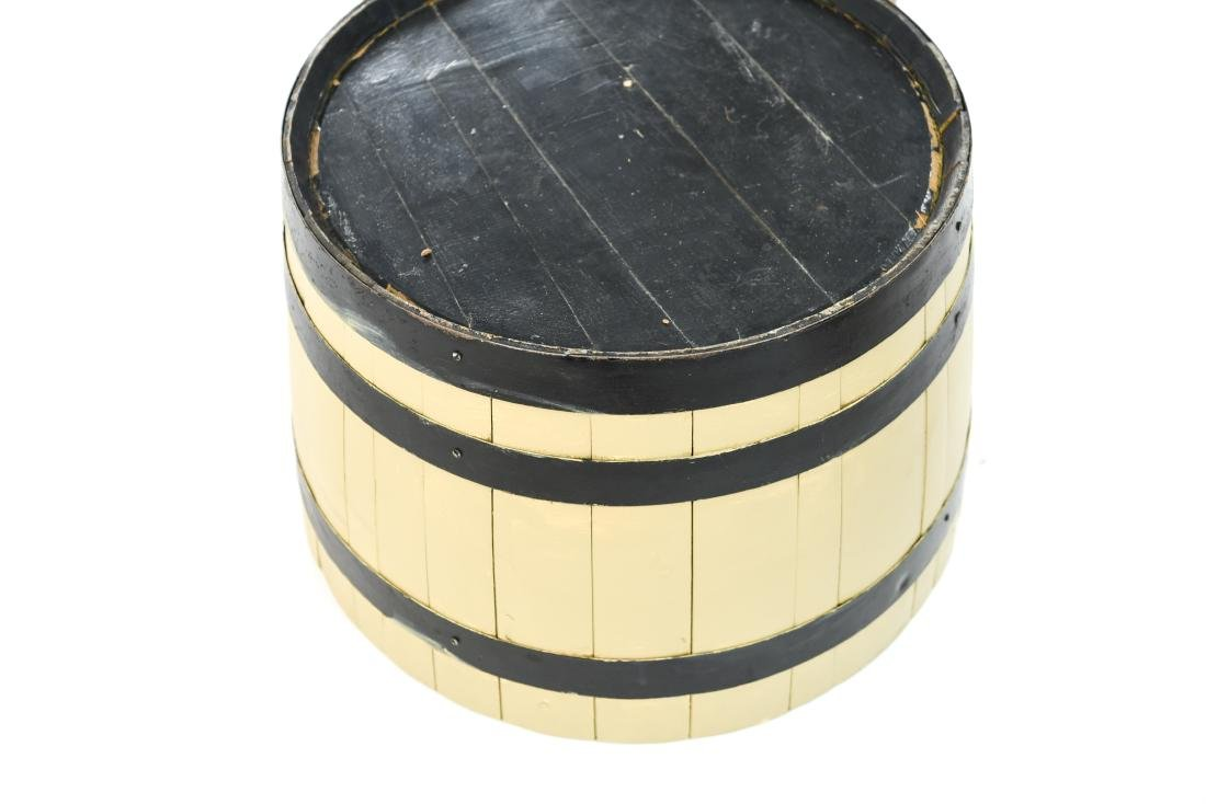 (2) WOODEN BARREL HALVES / END TABLES - 7