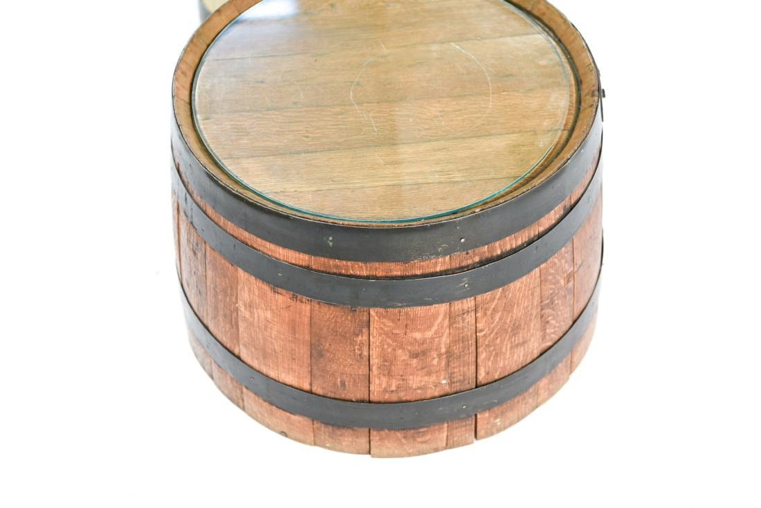 (2) WOODEN BARREL HALVES / END TABLES - 8