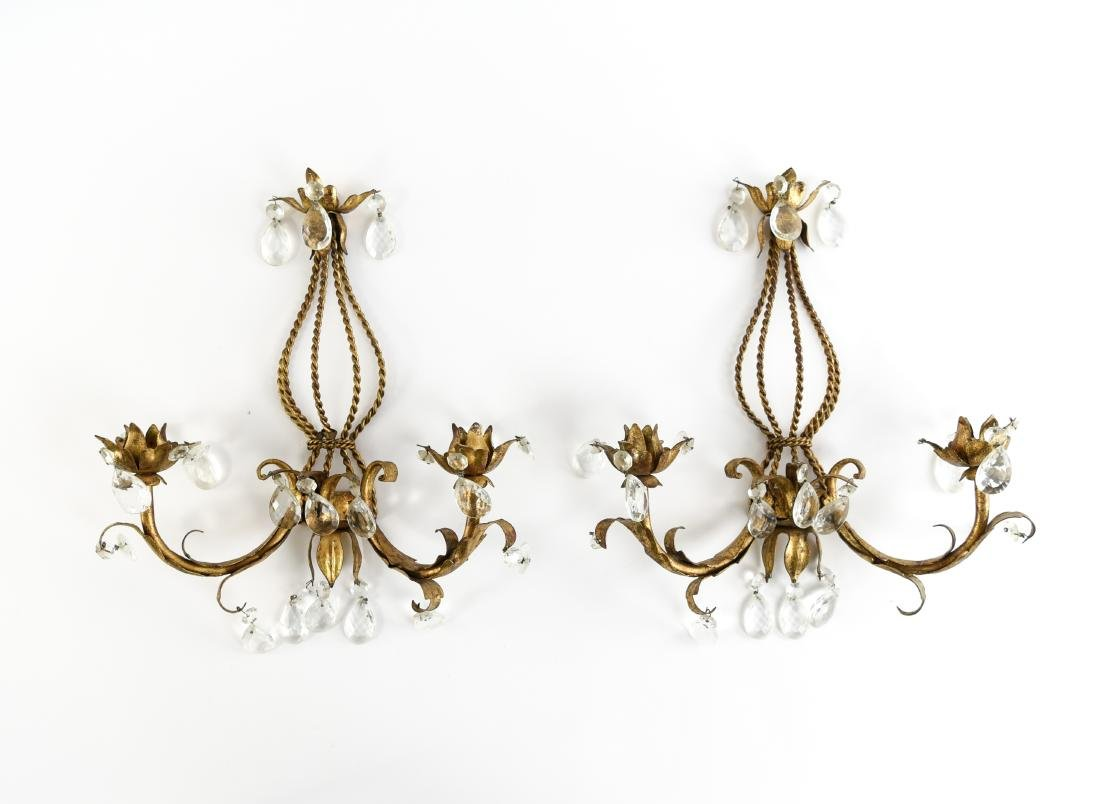 PAIR OF GILT METAL DROP CRYSTAL WALL SCONCES